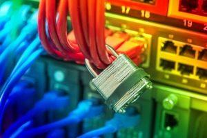 Concept de protection de réseau et de données avec cadenas et commutateur Banque d'images - 60106258